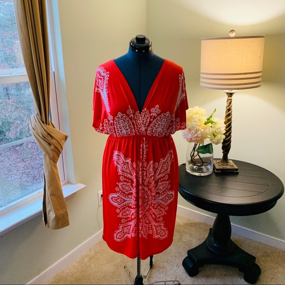 RelaXX Dresses & Skirts - Relaxx Orange and White Floral Midi Dress Size 3X